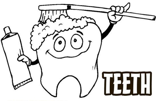 Brushing Teeth Poster Coloring Pages for Children