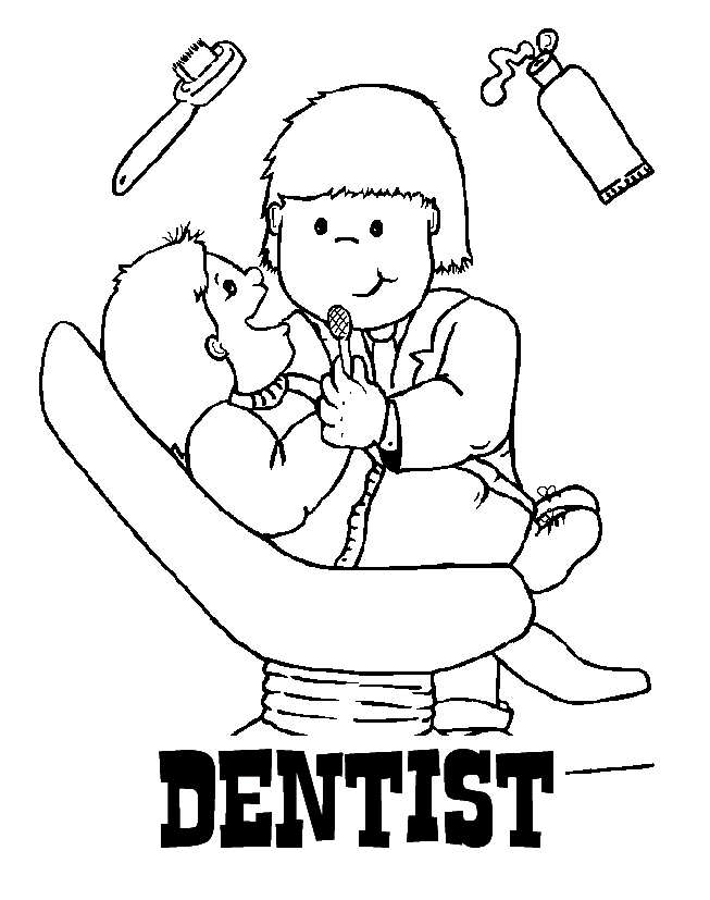 Dentist Coloring Page Printable