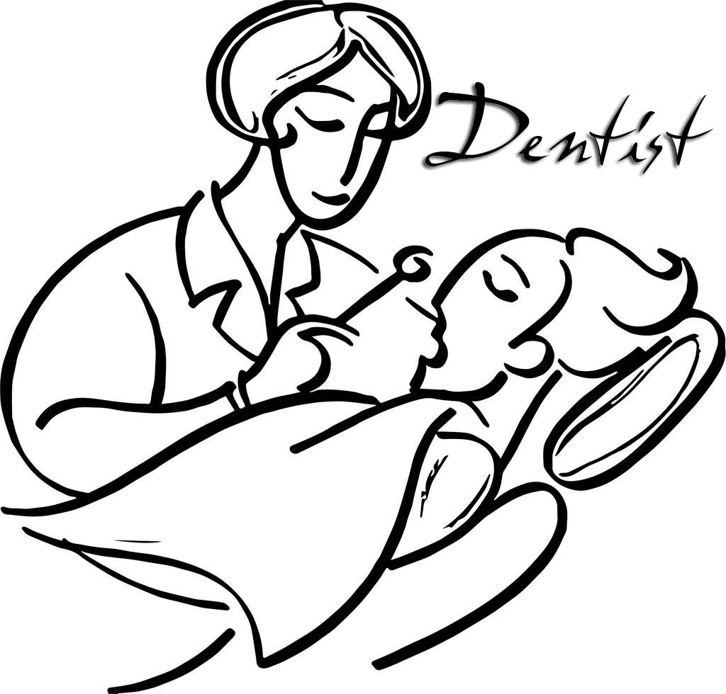 Dentist Observing Mouthl Coloring Page