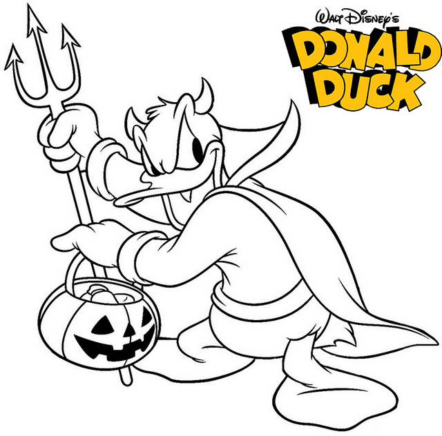 Disney Donald Duck Halloween Coloring Pages