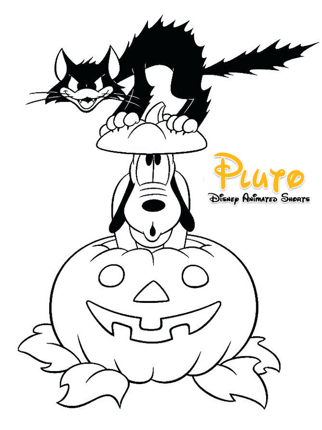 Fun Disney Pluto Halloween printable coloring pages