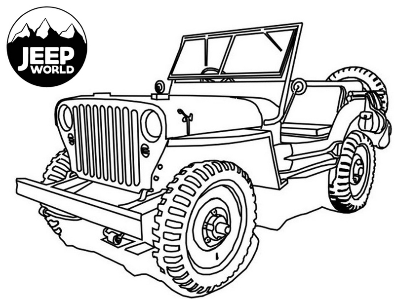 Jeep Wrangler Big Wheels Coloring Page