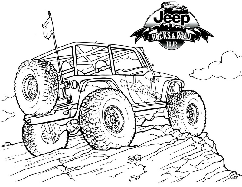 Jeep on Mountain Coloring Pages