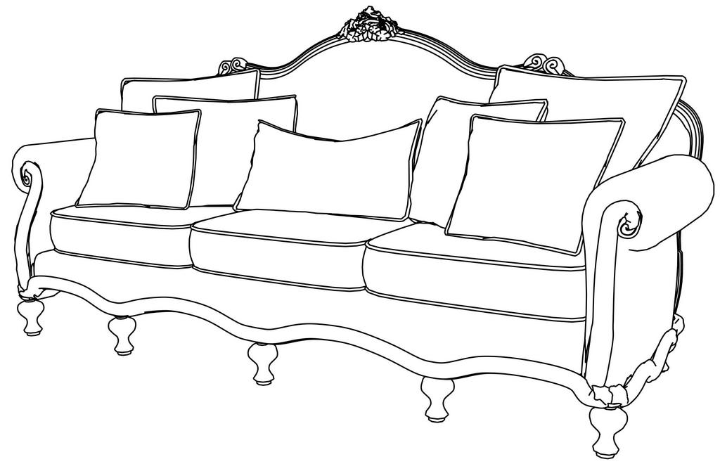 Modern Antique Sofa Furniture Coloring Page