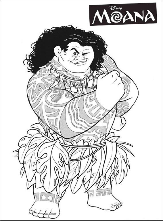 New Moana Maui Adventure Coloring Page