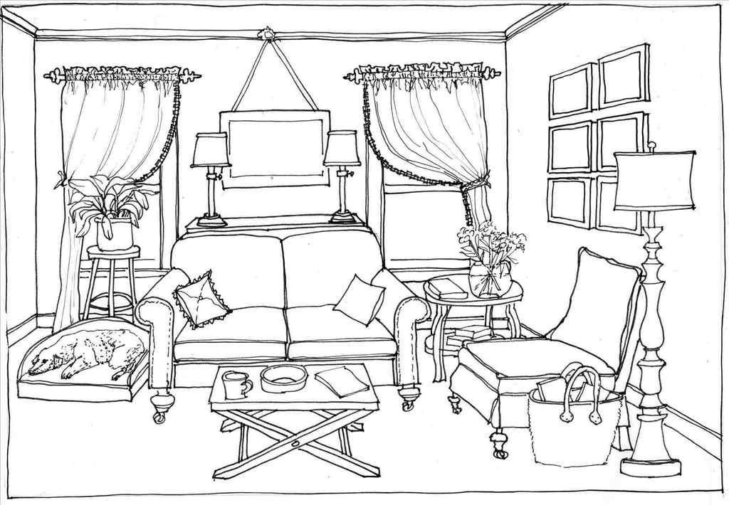Retro Modern Sofa Furniture Coloring Page
