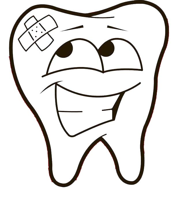 Teeth Caricature Coloring Page