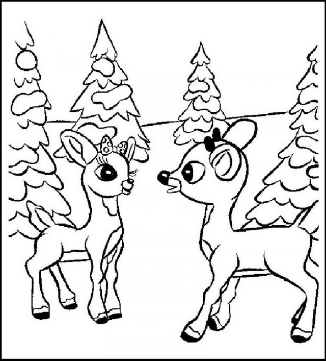 Winter Rudolph the Red Nosed Reindeer Coloring Pages