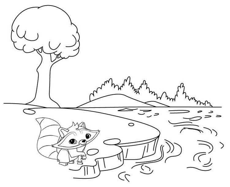 best river and otter cartoon coloring page