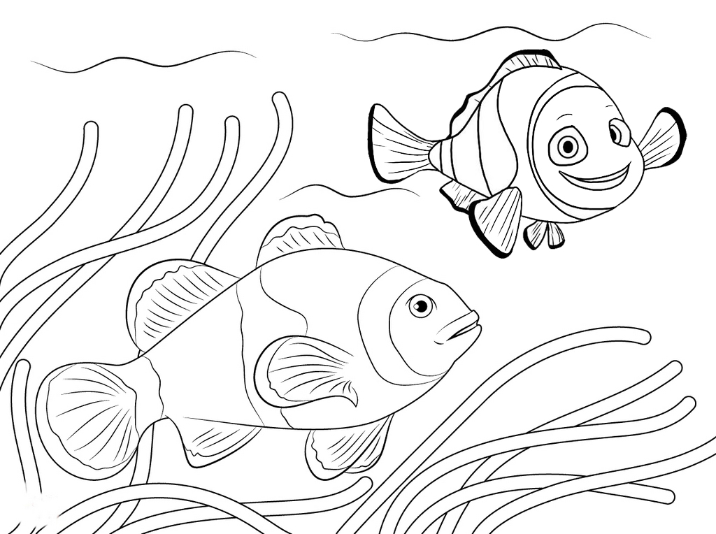 clown fish swimming among anemone coloring page