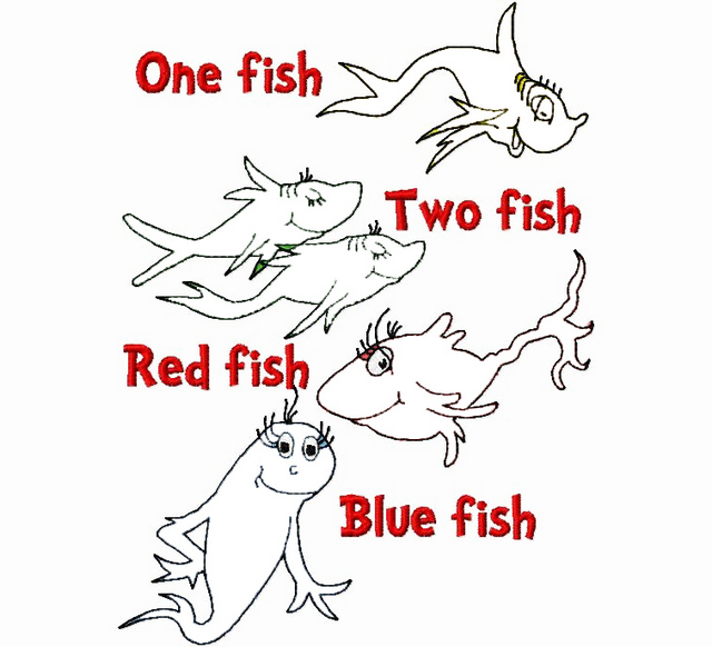 dr seuss one fish two fish craft coloring page