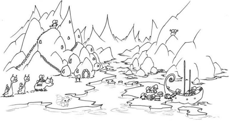 printable wonderful river mountains coloring page
