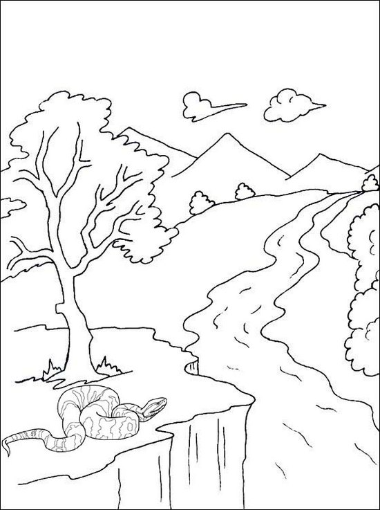 river mountain and snake scenery coloring page