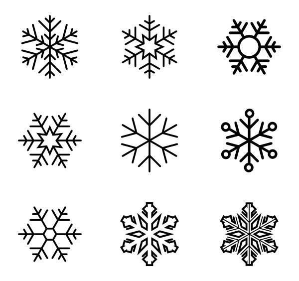 snowflakes icon clipart coloring page