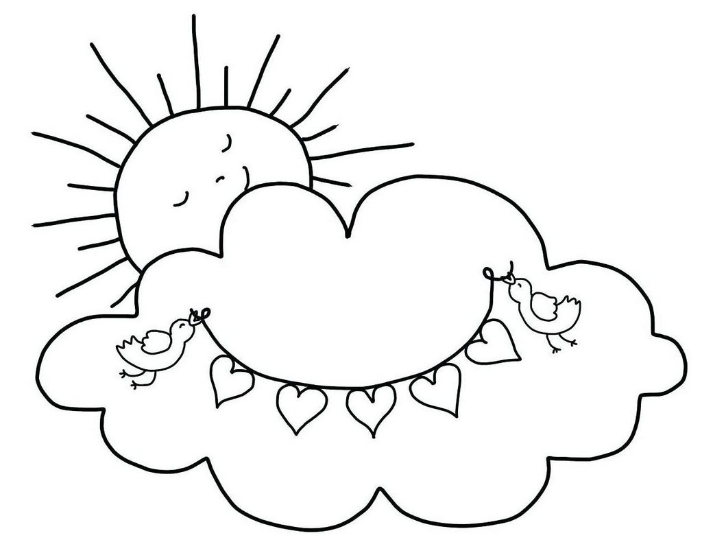 sun smiling behind cloud cartoon coloring page