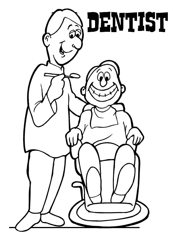 woman dentist treating teeth coloring pages