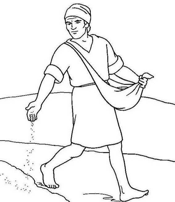 A Sower Sowing Seeds Parable Coloring Page