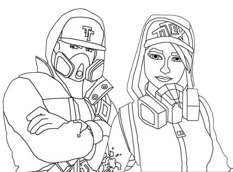 Abstrakt and Teknique Fortnite Coloring Page
