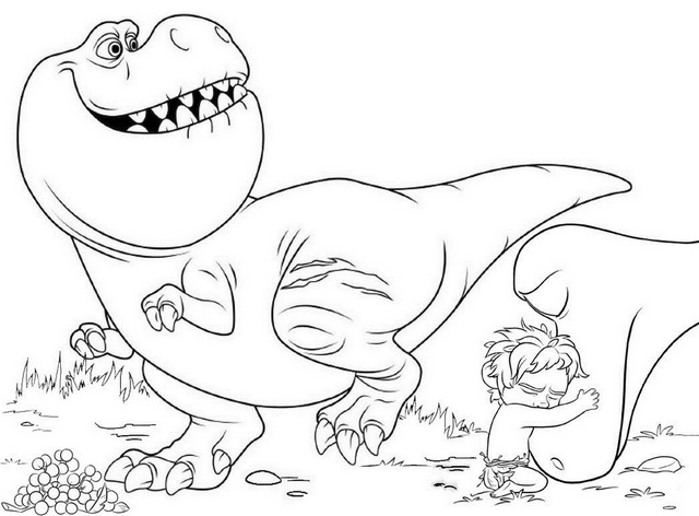 Arlo and Nash The Good Dinosaur Coloring Page for Children