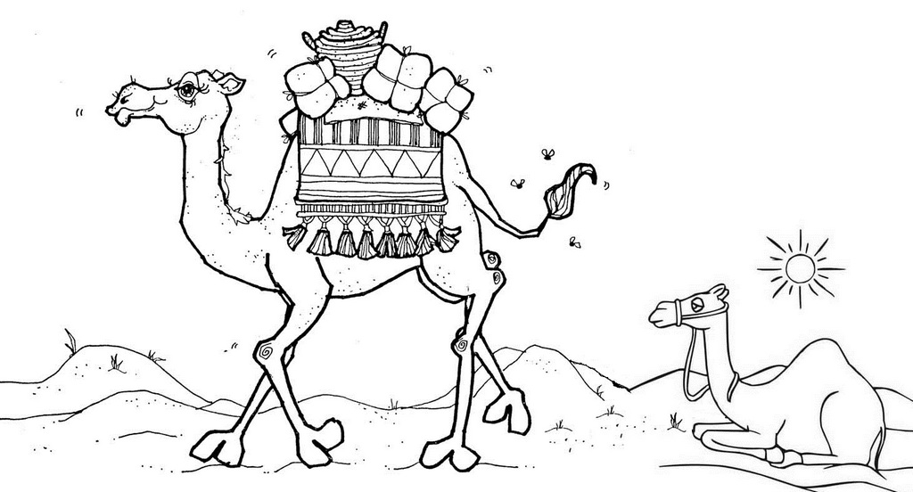 Camel in Middle East Coloring Page