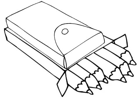 Crayons and Pen Box Case Coloring Pages