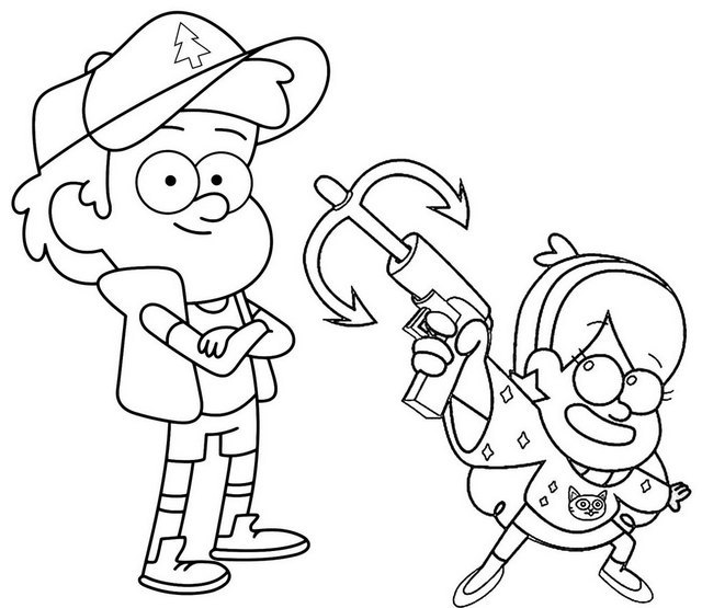 Dipper and Mabel Holding on a Grappling Hook themed Gravity Falls Coloring Page