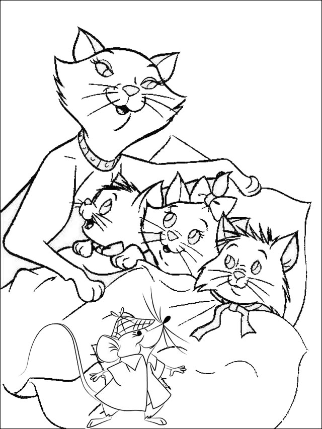 Duchess Put to Sleep Marie Berlioz Toulouse from Aristocats Coloring Page
