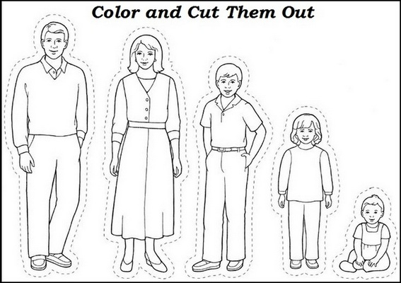 Family Coloring and Cut Drawing for Cards