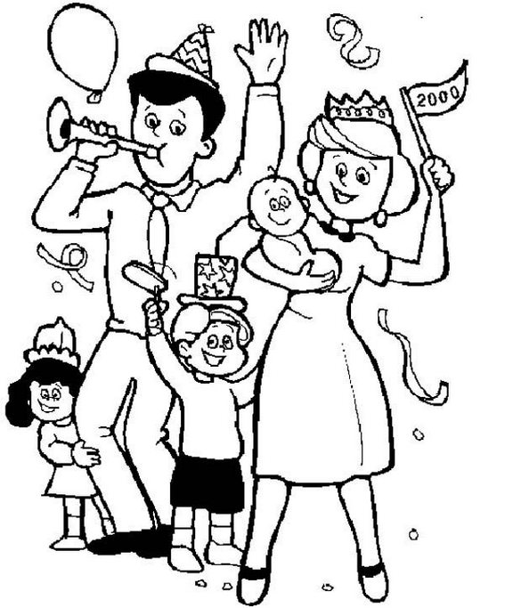 Family Held Birthday Kid Coloring Page