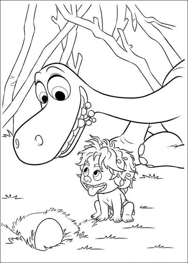 Fun Arlo Egg and Spot The Good Dinosaur Coloring Page for Kids