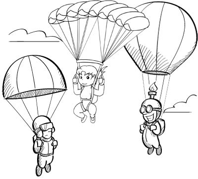 Fun Parachute Coloring Page for Kids