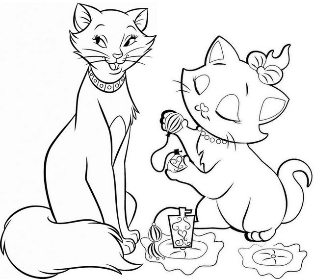 Marie and Duchess Aristocats Coloring Page for Kids