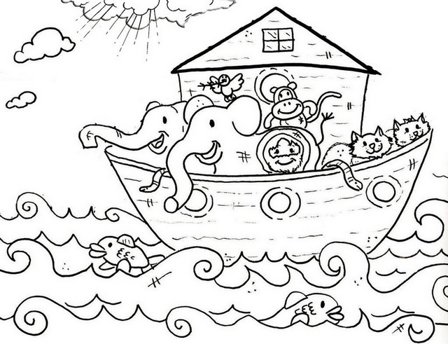 Noah Cartoon Coloring Pages