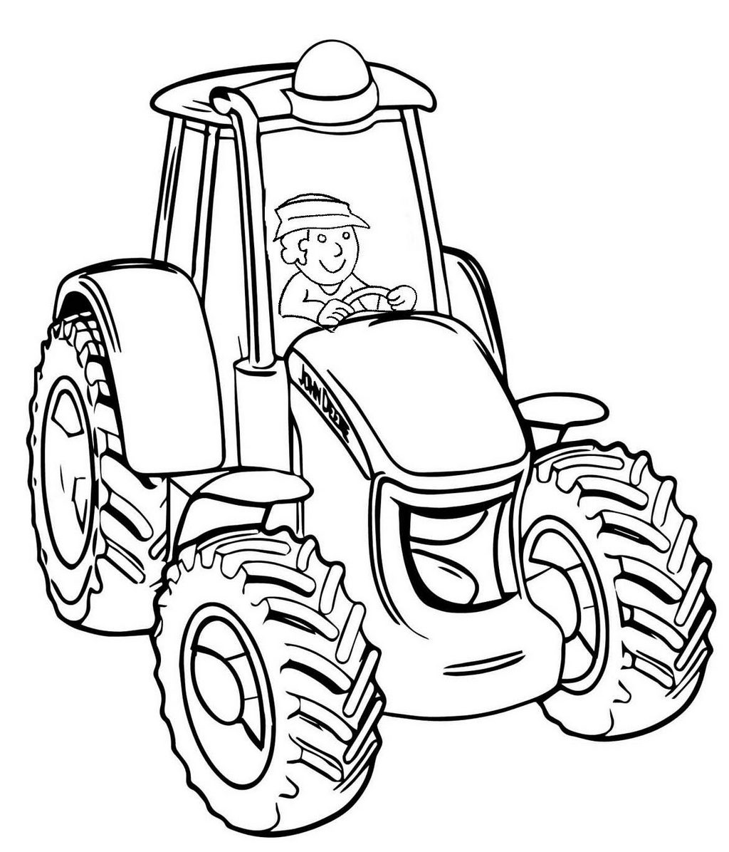Operator Driving Tractor Machine Coloring Page