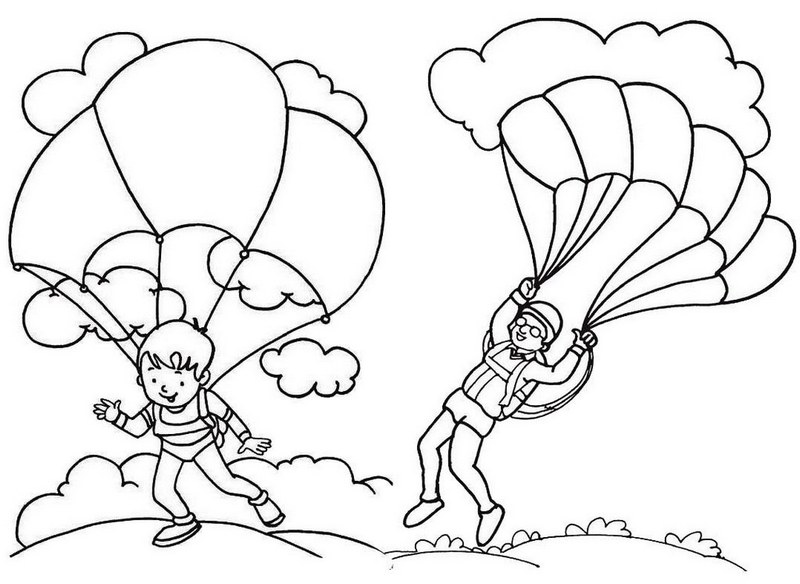 Parachute landing coloring page for kids