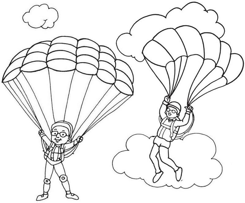 Printable Cute Parachute Coloring Page