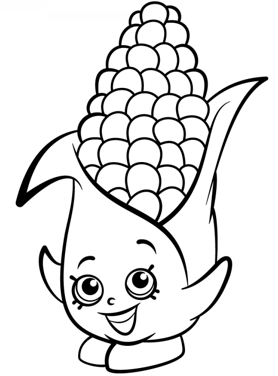 Shopkins Corn Smiling Coloring Page