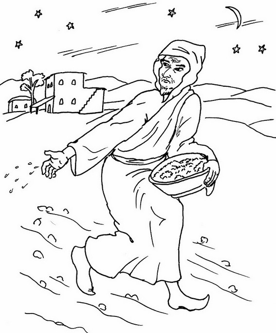 The Parable of Sower Preschool Coloring Page