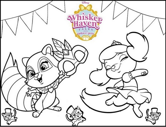 Windflower and Pumpkin Dancing From Whisker Haven Coloring Page