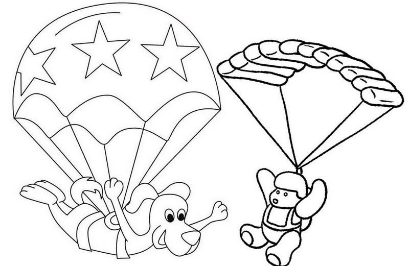 animal cartoon parachute coloring page