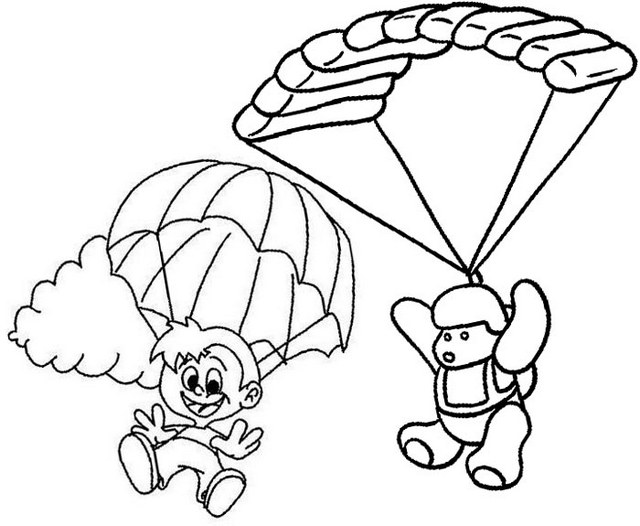cartoon parachute coloring page for kids