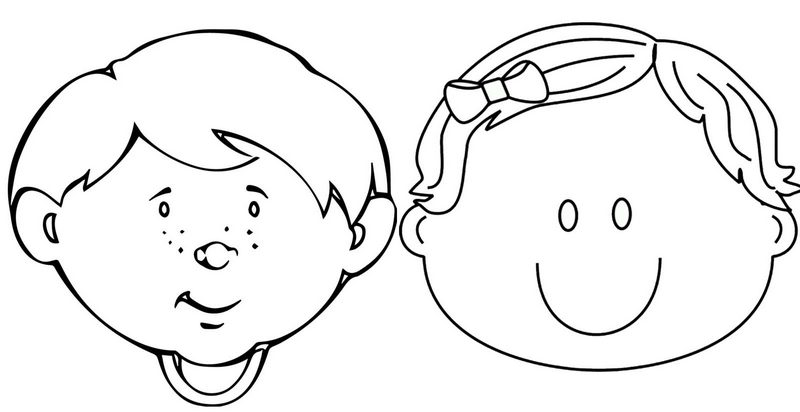 cute girl and boy preschool face coloring page