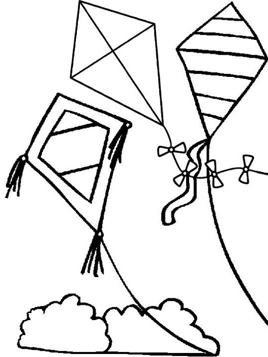 easy kites coloring page for kids