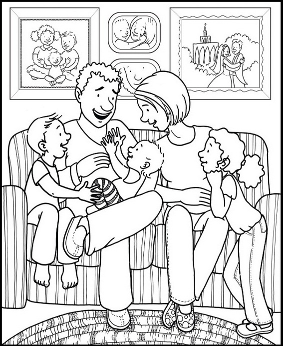 family in living room coloring page for children