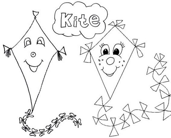 fun face smiling kite coloring page