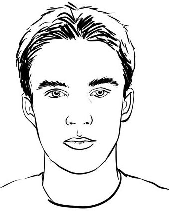 handsome teenager face kid coloring page