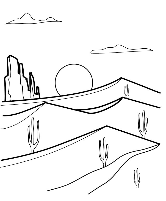 hot desert coloring page for kids