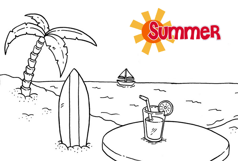 i love summer on the beach themed coloring pages