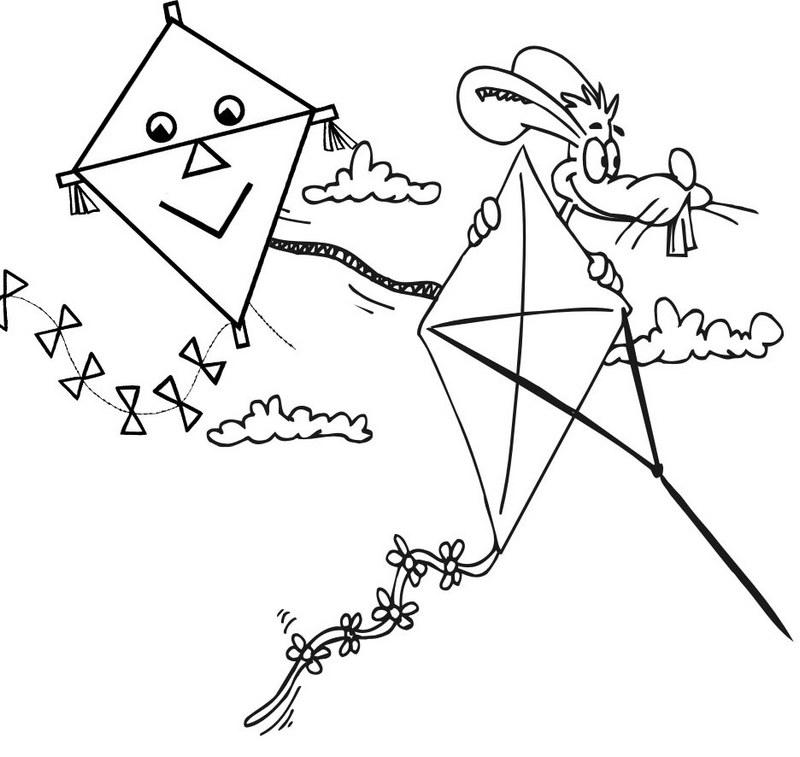 printable cartoon kites coloring page