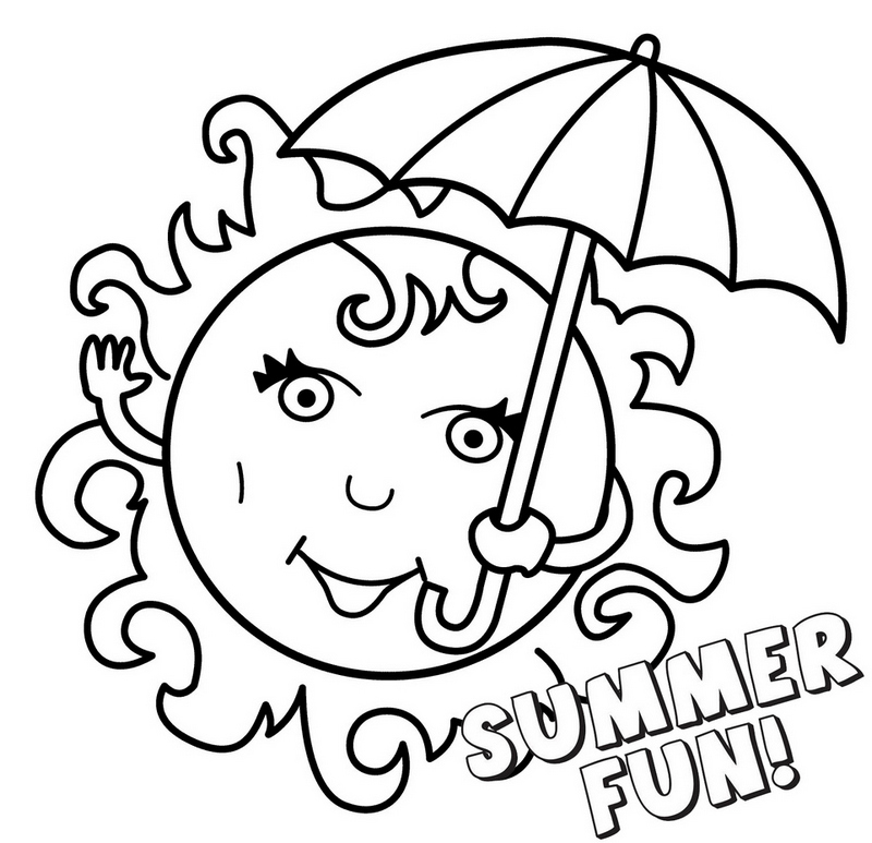 printable fun summer sun smiling themed coloring pages